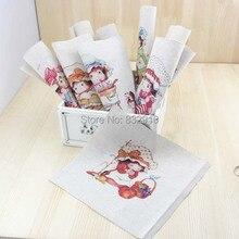 Boa mão tingido 10 assorted cotton linen impresso quilt tecido para diy costura patchwork home textile decor 20×14 cm chapéu da menina