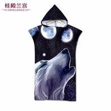 GRIDILANGO 3D цвет Волк Луна с капюшоном пляжное полотенце s плащ из микрофибры с оборотнем для взрослых плавательный бассейн банное полотенце Индивидуальные