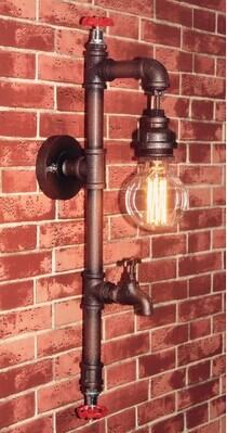 American Loft country industrial style pipe wall lamp iron Edison bulb hanging,for bar home living lights,Bulb Included,AC american country style retro industrial wind loft bar aisle edison flute wall lamp wall lamp simplicity creative