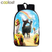 Divertida Llama de gato de Pizza/Llamacorn mochila para adolescentes, niñas, niños, mochilas escolares, mochila para ordenador portátil, mochila de libros para niños, mochilas escolares