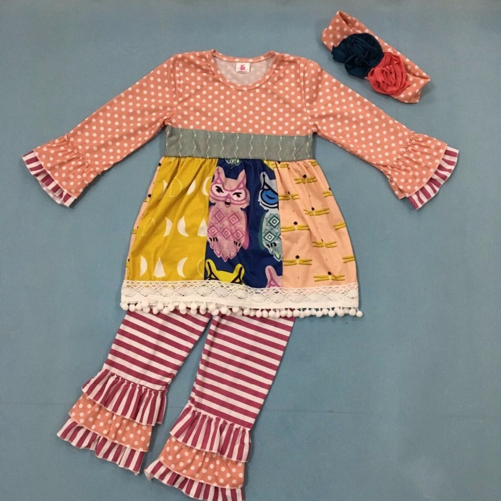 New Boutique Girls Fall Outfits Polka Dot Floral Kids Ruffle Striped Pants Outfits Children Clothing Sets With Headband F014 цена