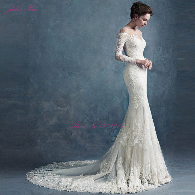 2018 julia kui graceful lace scalloped strap wedding dress brush 2018 julia kui graceful lace scalloped strap wedding dress brush train elegant three quarter sleeve beaded junglespirit Image collections