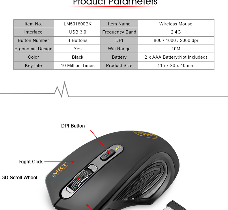iMice Wireless Mouse 4 Buttons 2000DPI Mouse 10