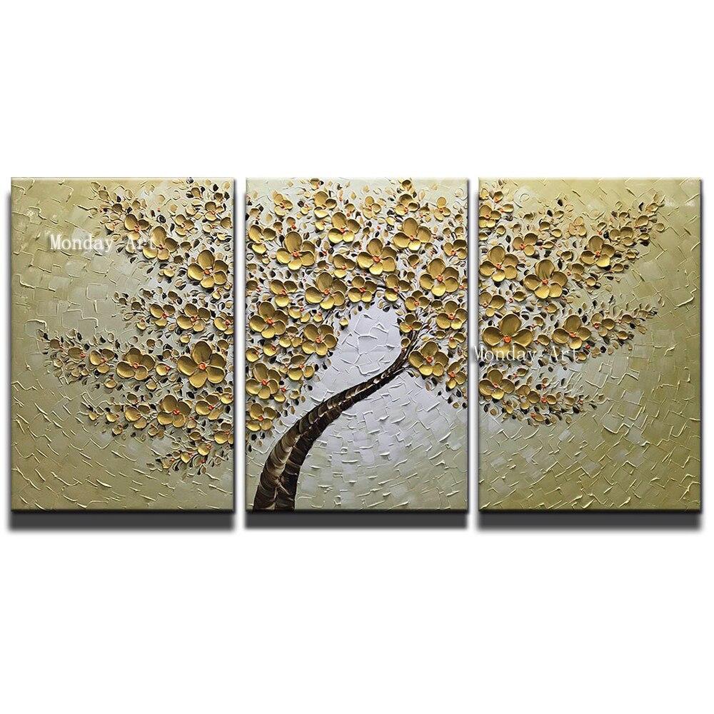 Peint à la main couteau or fleur peinture à l'huile toile Palette peinture pour salon moderne fleur arbre photo mur Art photos