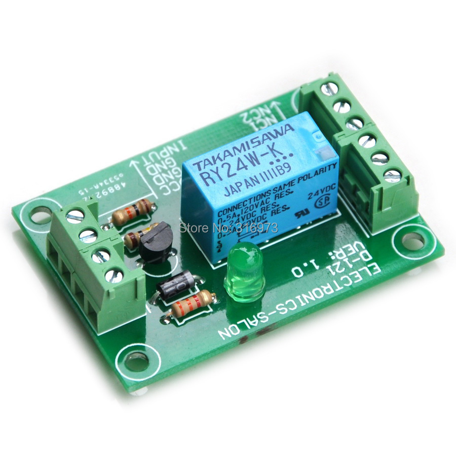 DPDT Signal Relay Module, 24Vdc, RY24WK Relay. Has Assembled.