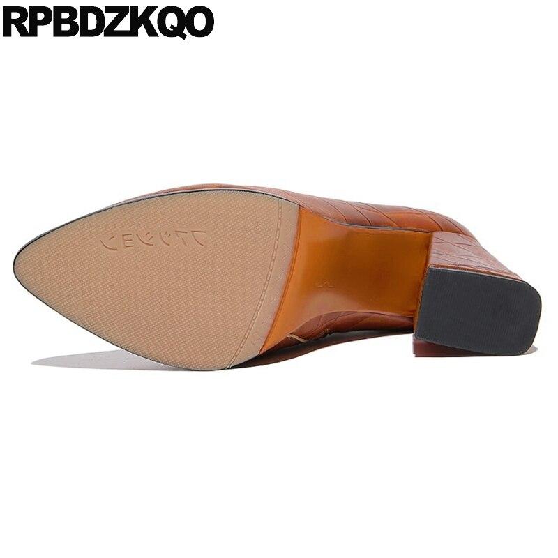 De 2017 Caer Tobillo Alto Tacón marrón Nuevo Marrón Negro Señoras Femenino Punteado Diseñador Fornido Piel Mujer Botas Zapatos Dedo Corto Bloquear Moda Botines Genuina Lujo Cremallera Chino qrEzO