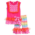 Hot Sale Girls Summer Clothing Sets Sleeveless Tank Top With Lace Colorful Chevron Stripes Shorts Children's Ruffle Sets S004