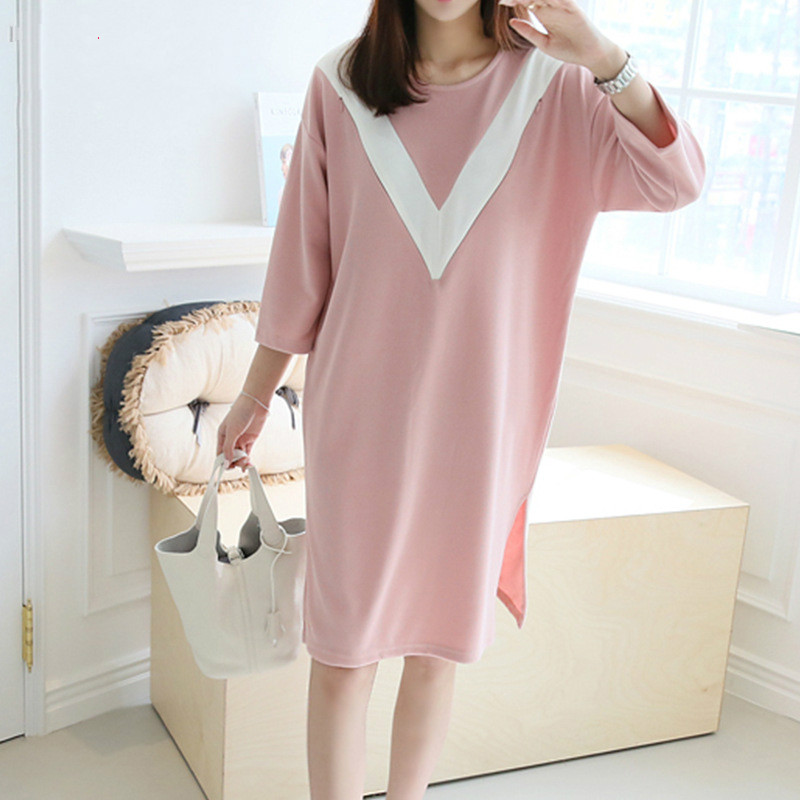 New Casual Maternity DressThree Quarter Sleeve nursing Brief Pink Dress for Pregnancy Clothes Spring Autumn Breast Feeding Dress