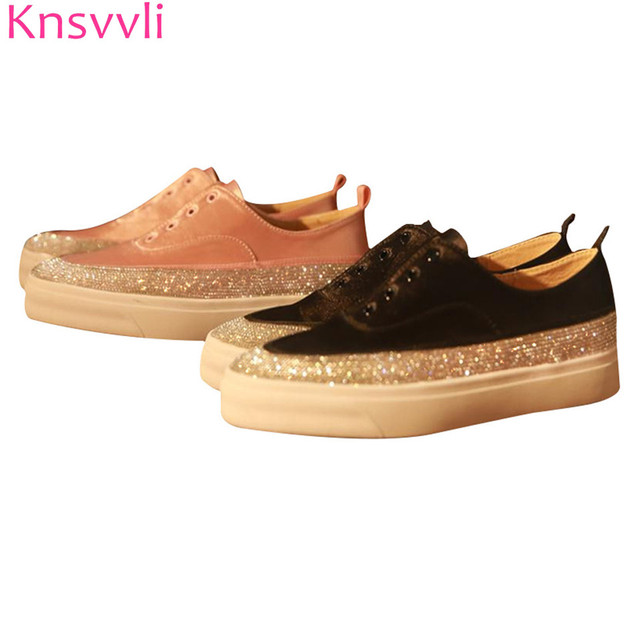 f7af7945b Knsvvli genuine leather satin pink flat shoes woman rhinestone lazy shoes  casual round toe slip on black women s shoes