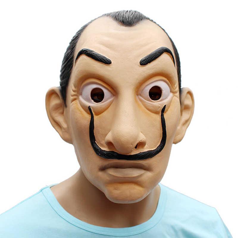 Латексный маска фильм дом La Casa де Papel Сальвадор Дали Лицо Латексная Маска для косплея костюмы на Хэллоуин реквизит