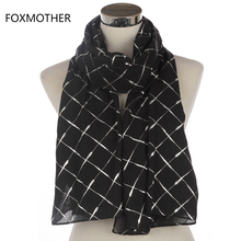 FOXMOTHER New Brand Fashion Women Black Pink Shiny Metallic Foil Silver Plaid Check Scarves For Womens