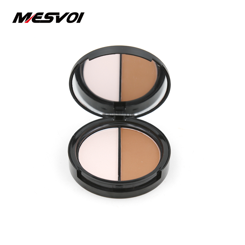 ᗚDos colores highlighter & Bronzer prensa Polvos de maquillaje 1 ...