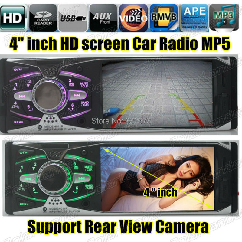4.1'' inch 16:9 TFT big screen 12V car MP5 Player support APE one din  in dash Car Audio SD/MMC card slot USB FM Radio aux-in