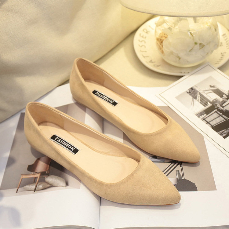 NAUSK New Women Suede Flats Fashion High Quality Basic Mixed Colors Pointy Toe Ballerina Ballet Flat Slip On Shoes 2