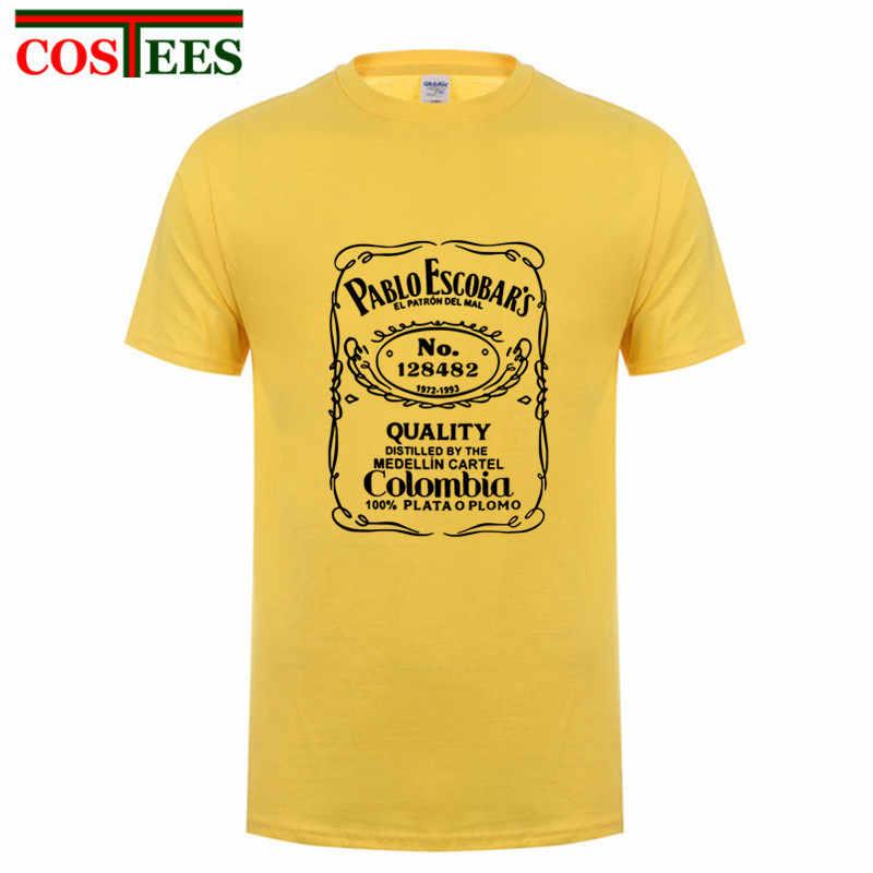 ad7cf3636 ... Comic Plata O Plomo T shirts Men Funny Pablo Escobar tshirt humor  custom Silver or Lead ...