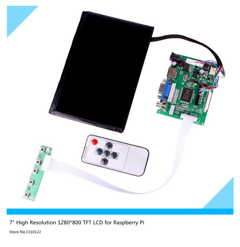 7inch High Resolution 1280*800 IPS Screen With Remote Driver Control Board 2AV HDMI VGA For Raspberry Pi
