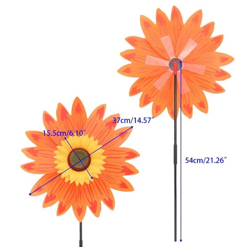 Grote Dubbele Laag Zonnebloem Windmolen Wind Spinner Kinderen Speelgoed Yard Garden Decor