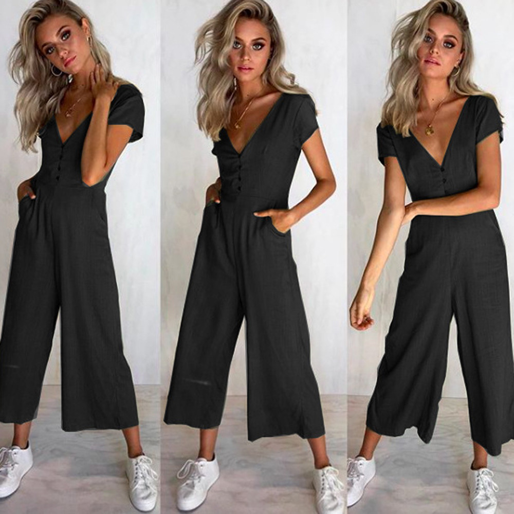 Jumpsuit Summer Women Long V-Neck Short Sleeve Wide Leg Strappy Holiday Long Playsuits Trouser Jumpsuit 2018 Jumpsuit F#J06 (7)