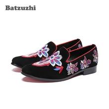 Batzuzhi Italian Type Men Shoes Black Suede Embroidery Flowers Mens Loafer Erkek Ayakkabi Party Dress Men, Big US12