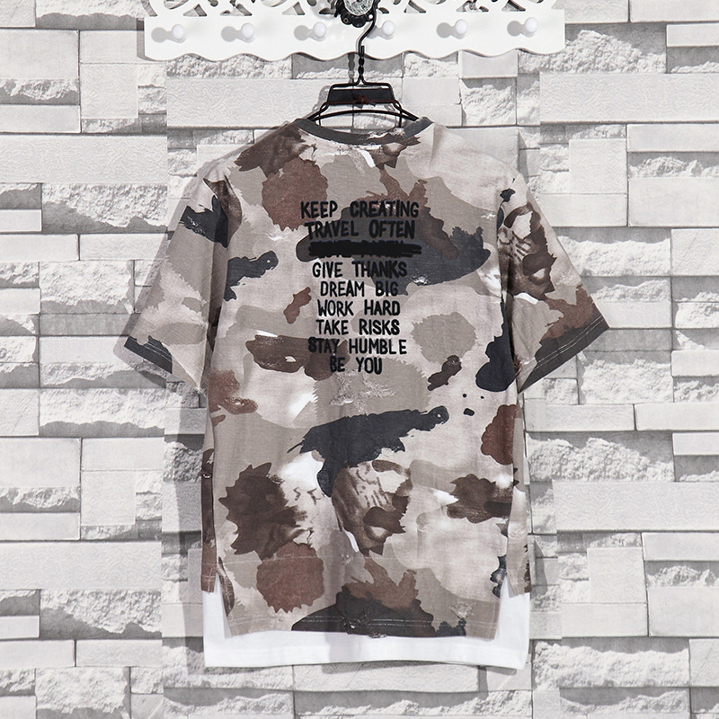 Summer New Fashion Retro Print Men T Shirt Camouflage Short-sleeved T-shirt Male Round Neck Loose Large Size T-shirt 10