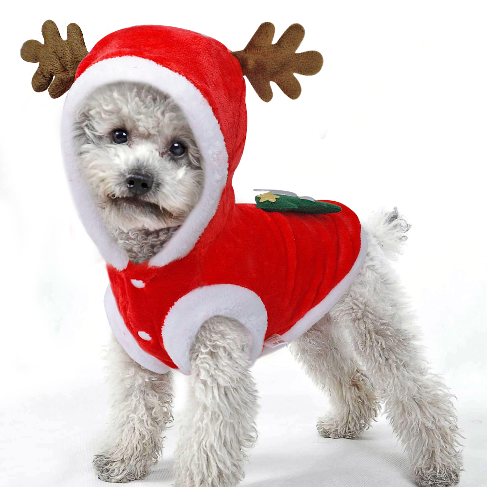 Warm Dog Jacket in Santa Claus Pattern with Hoodie and Warm Cuffs for Small Dogs