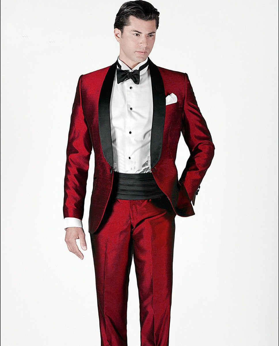 red tuxedo jacket custom made suits shiny stain for men ...