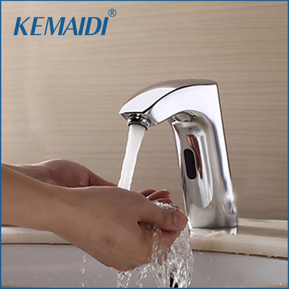 все цены на KEMAIDI Bathroom Automatic Hands Touch Free Sensor Faucets Water Tap Basin Chrome 89000 Brass Sink Mixer Tap Faucets,Mixer Tap