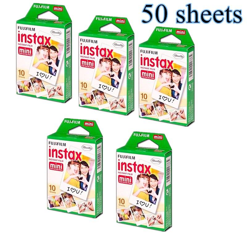 50 feuilles Fujifilm Fuji Instax Mini 8 film pour Fujifilm instantané Mini 7 s 25 50 s 90 caméra Fuji Instax bord blanc Film Photo papier
