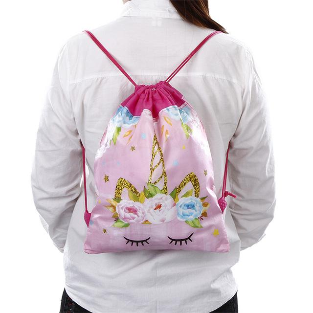 Women's Pink Unicorn Printed Drawstring Bag