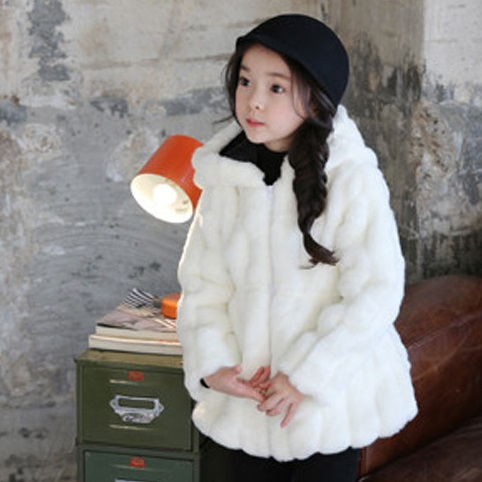 Furry Girls Faux Fur Coat Winter Hooded Warm Fur Jacket Imitation Children White Rabbit Fur Long Coat For Kids Soft Outwear F2