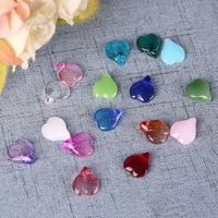 200pcs/bag Heart Shape Coloured Glaze Beads, 12*15 MM Lampwork Crystal Jewel Pendant Charms DIY Necklace Bracelet Jewelry Making