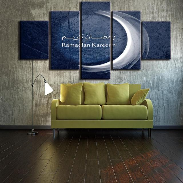 Modular Picture Large Wall Art Canvas Painting 5 Panels Religion Islamic Moon Printed For Bedroom Living & Modular Picture Large Wall Art Canvas Painting 5 Panels Religion ...