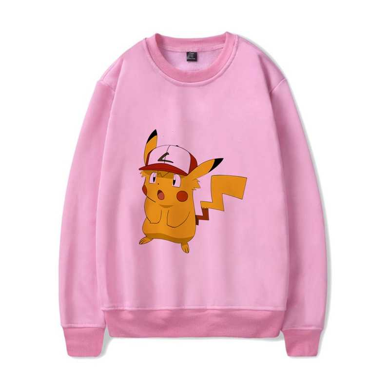 Cute anime Pocket Monster Pikachu O-NECK Cartoon Pattern Cool Design Cotton Sweatshirts with  Leisure Fashion Jumper