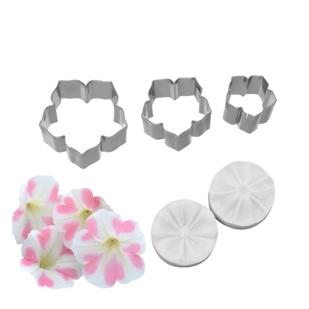 Moule à gâteaux à Impression de fleur | 5 pièces, pétunia, moule à légumes en Silicone, décoration de gâteau, Sugarcraft, moule à gâteaux pour fleur de sucre