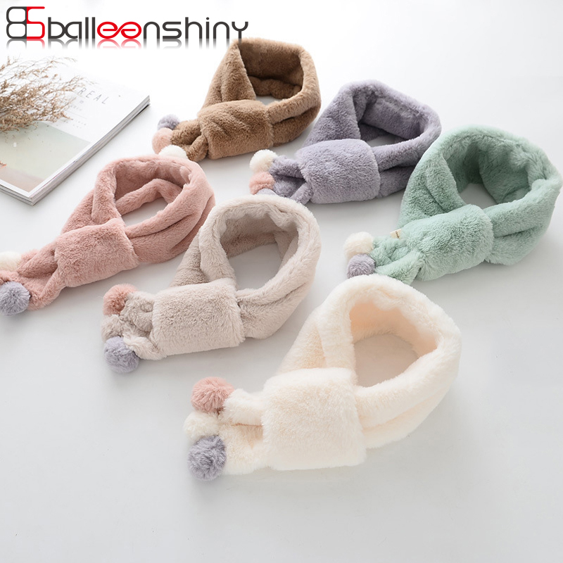 BalleenShiny Baby Fashion Autumn Winter Solid Scarf Fake Rabbit Fur Neckerchief Soft Boys Girls Gift Children Cute Warm Scarf stylish solid color lightweight pleated scarf for women