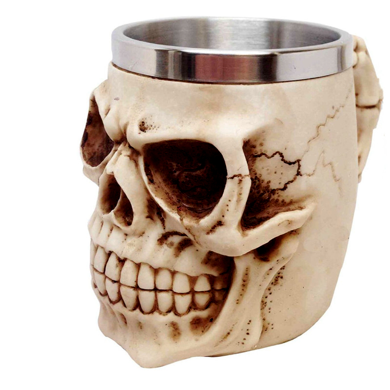 3D Realistic Skull Mugs Double Wall Stainless Steel Mug Cup Horror Big Skull Geek Coffee Beer Cup Cool Christmas Gift With Box 2