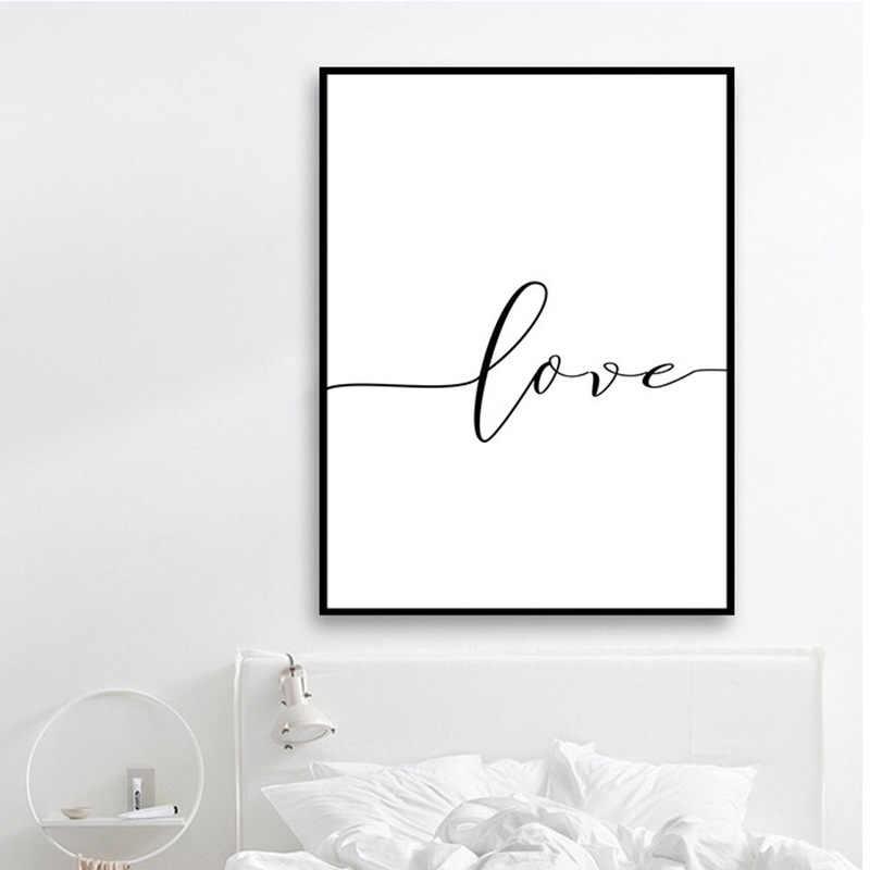 Modo Nordic Poster in Bianco E Nero Tenendo Le Mani Picture Stampe Su Tela Amante Citazione Pittura di Arte Della Parete Per Living Room Decor