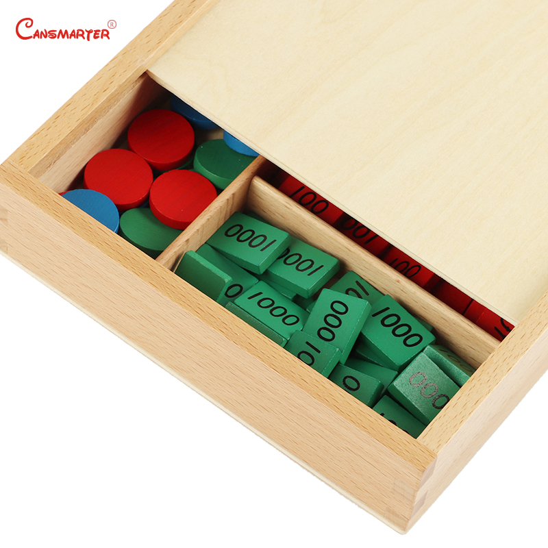 Stamp Games With Box Montessori Materials for Home School Math Toys Teaching Aids Beech Numbers Math Toys Wooden MA062-JZ3