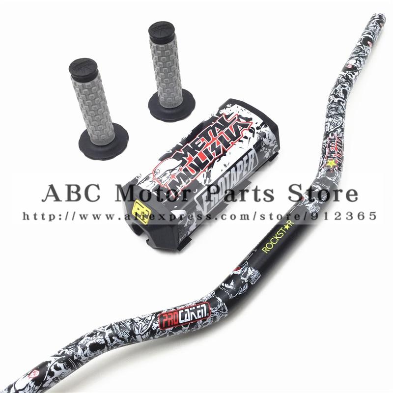Metal Mulisha Pack Fat Bar 1 1 8 PROTAPER Handlebar pads with Handle Grips Dirt Pit