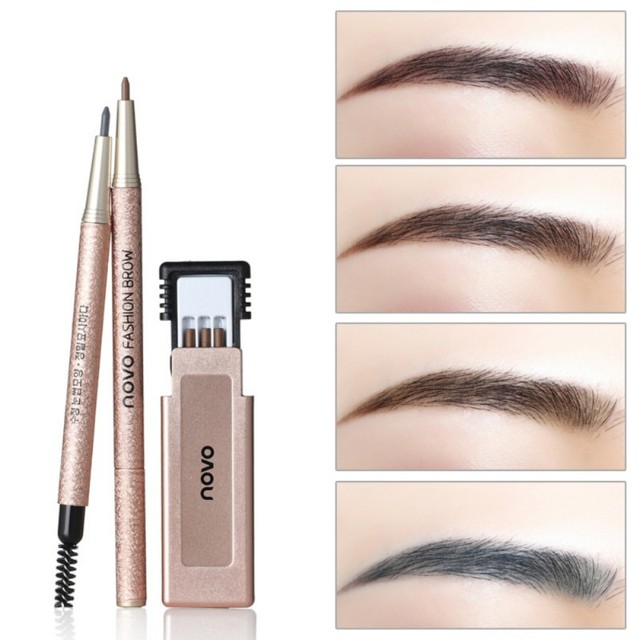 Eye Brow Makeup Kit with Refill Easy to Wear Pigment Brown Gray Waterproof Eyebrow Pencils with Stencils 4