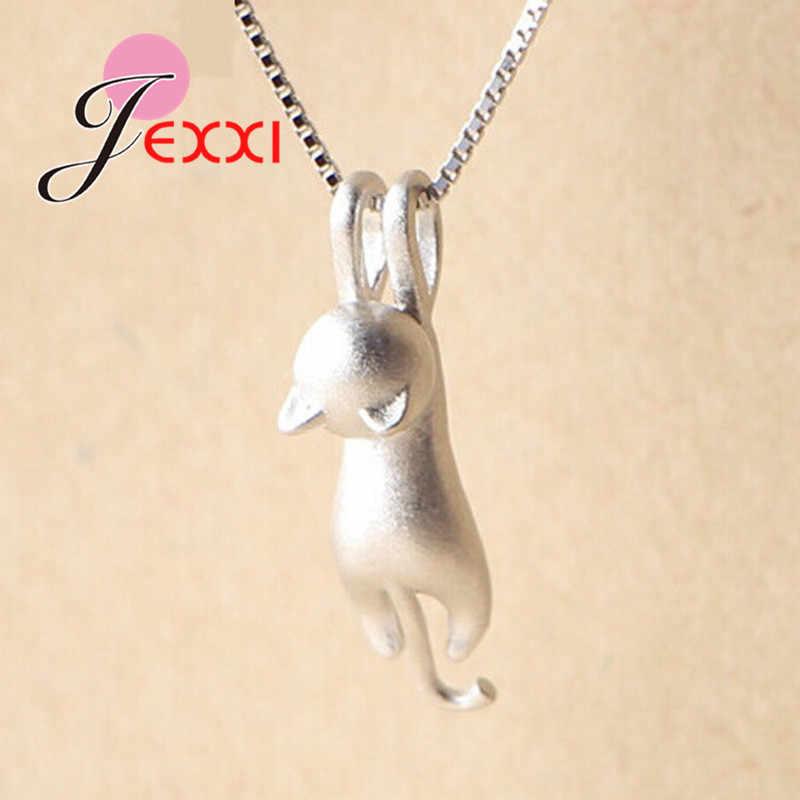 Nyata 925 Sterling Perak Cantik Kucing Liontin Kalung Wanita/Gadis Pesta Aksesori Lucu Hewan Desain Wanita Hadiah Perhiasan