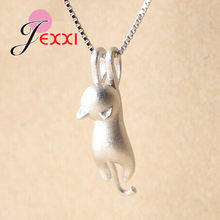Real 925 Sterling Silver Pretty Cat Pendants Necklace Women/Girls Party Accessory Cute Animal Design Lady Gifts Jewelry(China)