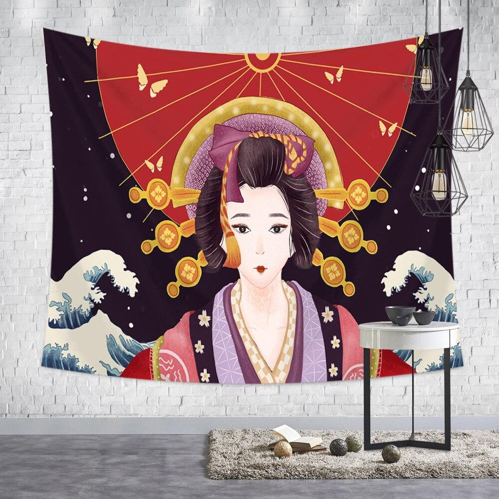 Japanese Tapestry Art Ukiyoshi Painting Ladies Geisha For Liquor House Sushi Shop Tatami Home Decorative Tapestry Wall Hanging