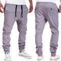 Прочный 2016 Модные Брюки для мужчин бегунов большие размеры брюки хип-хоп падения промежность штаны шаровары брюки