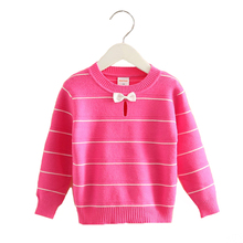 2016 New Arrival Baby Girls Striped Cardigan Girls O-Neck Bow Sweaters Kids Soft Coats & Jackets Child Casual Outerwear MY23
