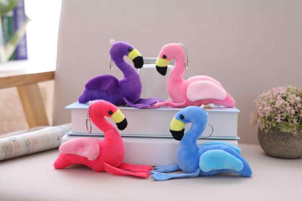 12cm dos desenhos animados bonito flamingo chaveiro brinquedo de pelúcia pandant feminino fofo pele pom pom chaveiro saco pendurado pelúcia crianças brinquedos presente da menina
