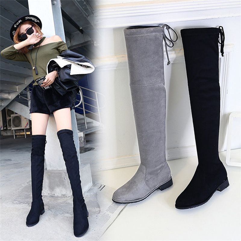 Jookrrix New Fashion Girl Shoe Women Over The Knee Flock Thigh High Black Boots Sexy Lady Flats Long Boots Low Heel Suede Shoes new 2014 flock suede high heel women boots brand over knee high heel boots for women fashion designer women shoes