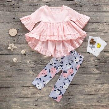 d97b392c7 Ropa de bebé niña 2019 primavera y otoño nuevas niñas lotus hojas pliegues  ropa + Pantalones florales de dos piezas