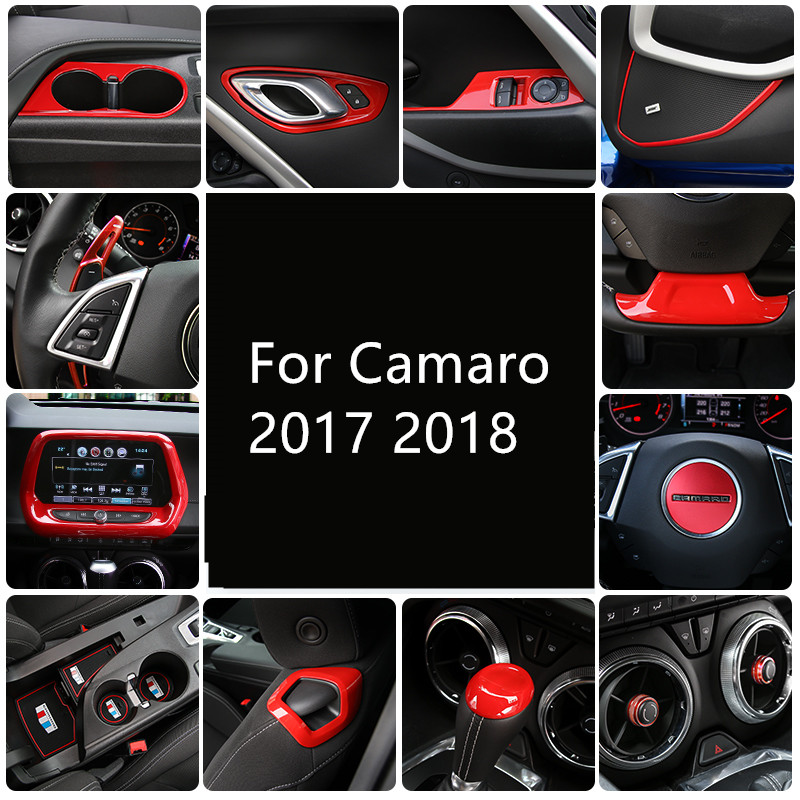 Red Whole Set Interior Decorations Window Swith Steering Wheel Seat Adjust Button Frame For Chevrolet Camaro 2017 2018 AAA035
