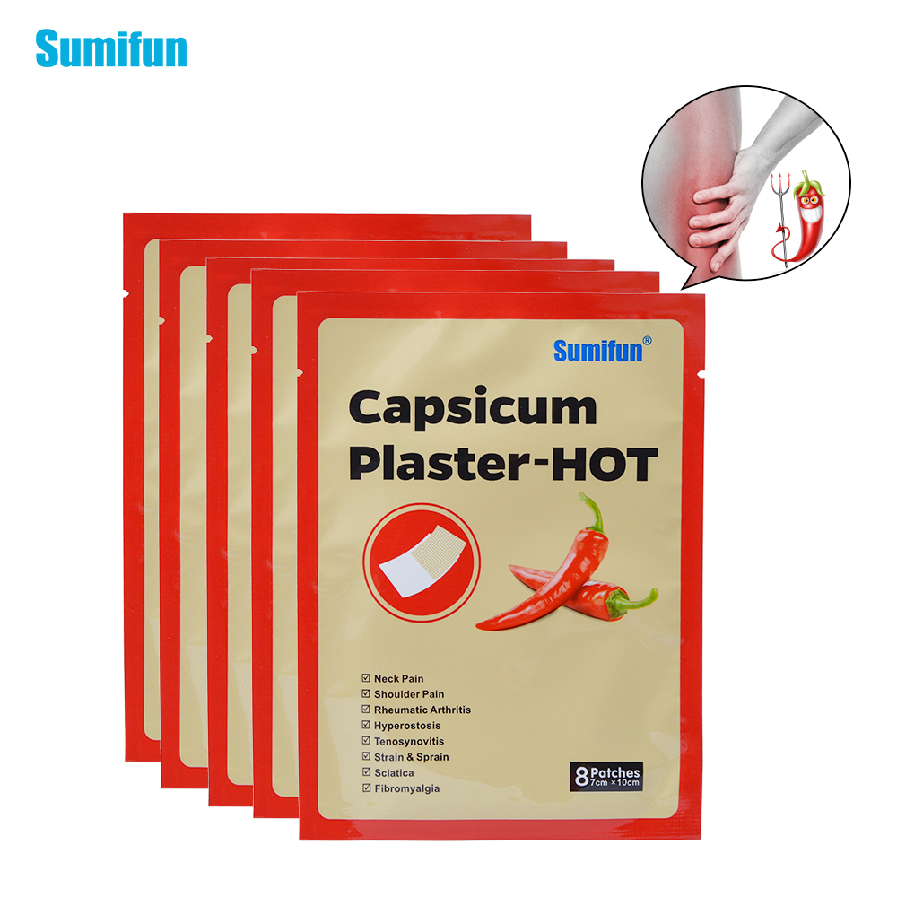 Sumifun Health Care 40Pieces=5bags Pain Patch Chinese Medical Hot Capsicum Plaster for Joints Pain Relieving Porous Chilli Patch diallel analysis in chilli capsicum annuum l
